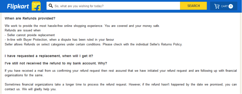 Flipkart Refund Policy