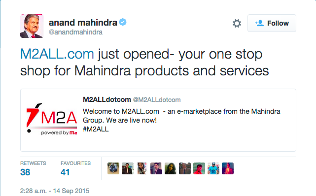 mahindra m2all e-commerce opens