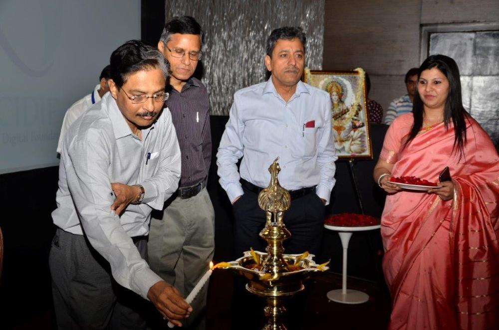 Dr. Ashwani Sharma, DG NIELIT lighting lamp during CIO Digital Foundation